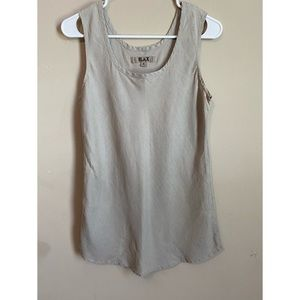 Flax Taupe Sleeveless Linen Tank Top Size Small